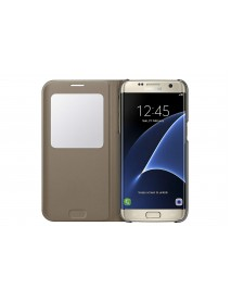 Husa Flip Carte S-View Cover  Samsung Galaxy A5 2018  Auriu-Gold