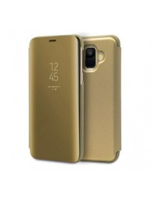 Husa  Samsung Galaxy J6+ ( J6 Plus/ Prime) 2018 Clear View Flip Mirror Stand Gold